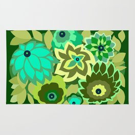 CAMBRIA, ART DECO FLORALS: GREEN SCENE Rug
