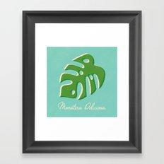 Monstera Aqua Framed Art Print