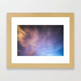 Pink Blue Glitter Galaxy Framed Art Print