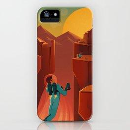 Vintage Adventure Travel Olympus Mons Awaits iPhone Case