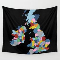 uk Wall Tapestries featuring UK on Black by Project M