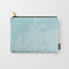 White Coral on Pale Blue Carry-All Pouch