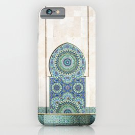 Fountain the Mosque of Hassan II in Casablanca, Morocco iPhone Case