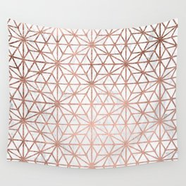 Modern rose gold stars geometric pattern Christmas white marble Wall Tapestry