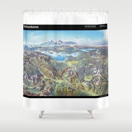 Sky Panorama Map of Yellowstone National Park with label Shower Curtain