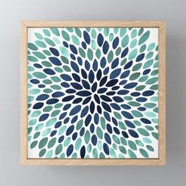 Flower Bloom, Aqua and Navy Framed Mini Art Print