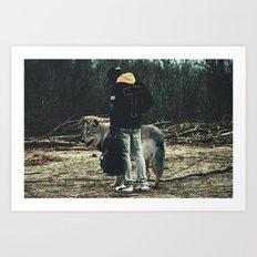 Kid with wolf Art Print