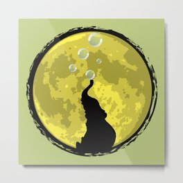 Elephant bubbly in the moonlight Metal Print
