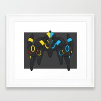 umbreon Framed Art Prints featuring Umbreon Duo by Kurew Kreations