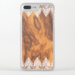 Brown Faux Wood& White Vintage Lace Clear iPhone Case