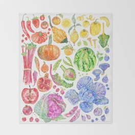 Rainbow of Fruits and Vegetables Throw Blanket