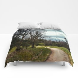 road in a forest Comforters