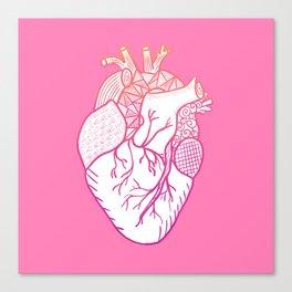 Designer Heart Pink Background Canvas Print