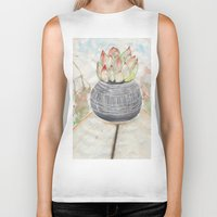 succulent Biker Tanks featuring Succulent by Kim Ly
