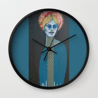 halo Wall Clocks featuring Red Halo by Hinterland Girl