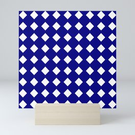 rhombus and tartan 6–  blue and white Mini Art Print