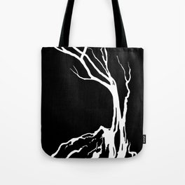 Black and White Tree on a Hill Tote Bag