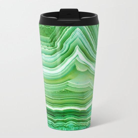 Agate crystal green Metal Travel Mug