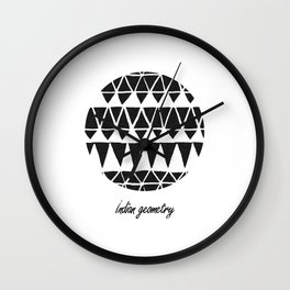 Indian geometry black Wall Clock