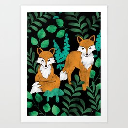 Red Foxes (Black) Art Print