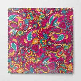 Indian colorful doodle pattern Metal Print