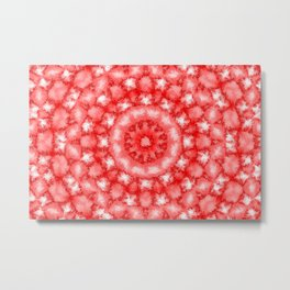 Kaleidoscope Fuzzy Red and White Circular Pattern Metal Print