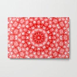 Kaleidoscope Fuzzy Red and White Circular Pattern Metal Print