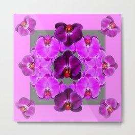 Dark Purple Moth  Orchids & Pink Orchids Art Metal Print