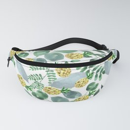 Watercolor yellow forest green leaf pineapple greenery Fanny Pack