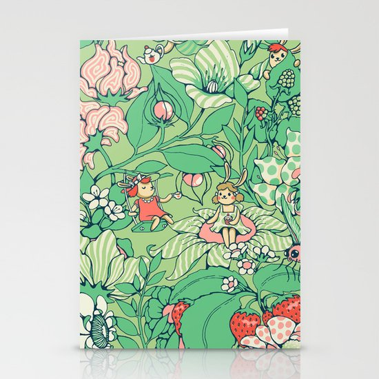 Garden party - sage tea version Stationery Cards