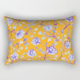 Watercolor Peonies - Sapphire Marigold Rectangular Pillow