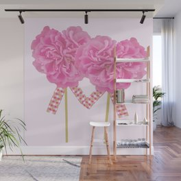 Let's Be Together For Ever - Pink Flowers Light Pink Backgrond #decor #society6 #buyart Wall Mural
