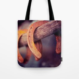 Horseshoes on Barn Wood Cowboy Country Western Tote Bag
