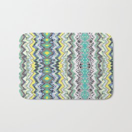 Teal Yellow White Midnight Aztec Bath Mat