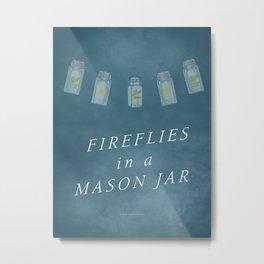 Fireflies in a Mason Jar Metal Print