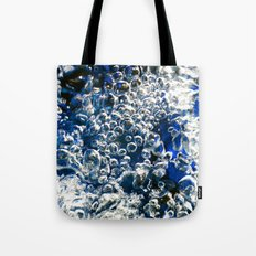 Blue Bubbles Macro photography River stream underwater abstract art bright bold vibrant color! Tote Bag