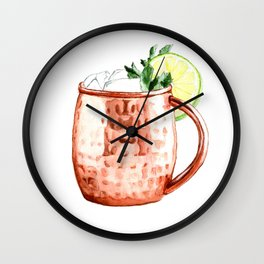 Cocktails. Moscow Mule. Watercolor Painting. Wall Clock