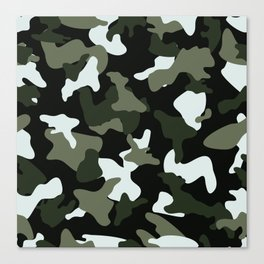 Green White camo camouflage army pattern Canvas Print