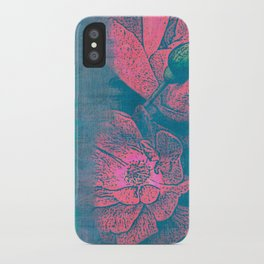 Rose Garden Blue 4- Texture Rose Study in red turquoise scarlet indigo watercolor wash iPhone Case