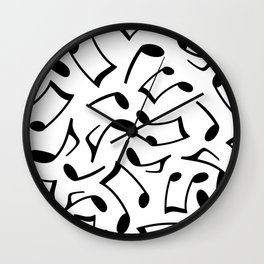 Music Note Pattern White and Black Wall Clock