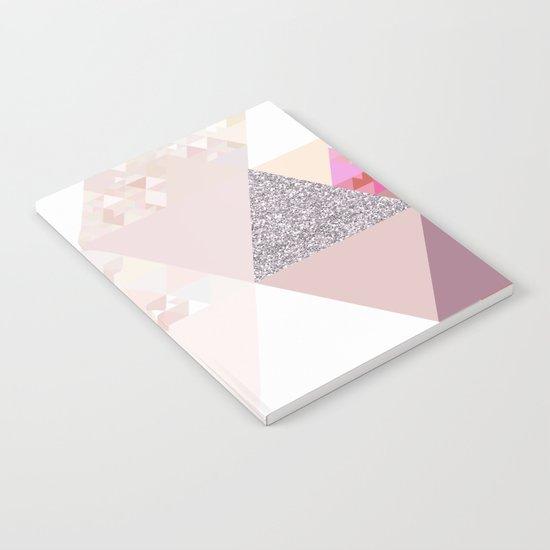 Triangles in glittering Rose quartz - pink glitter triangle pattern Notebook