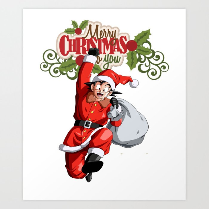 Christmas Dragon.Merry Christmas Dragon Ball Goku Art Print By Makaiworld