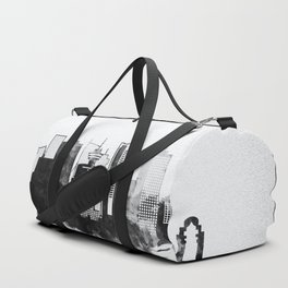 Black and White Vancouver City Skyline Duffle Bag
