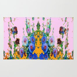 BLUE HOLLYHOCKS WESTERN  GARDEN Rug