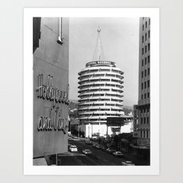Capital Records Building, Los Angeles, California black and white photograph / black and white photography Art Print