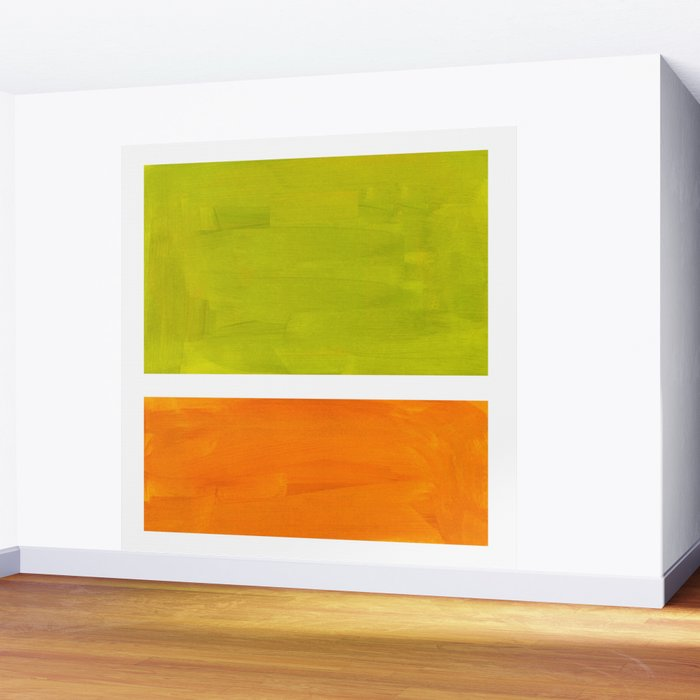 Retro Lime Green Minimalist Abstract Color Block Rothko Midcentury Modern Art Wall Mural