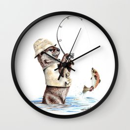 """ Natures Fisherman "" fishing river otter with trout Wall Clock"