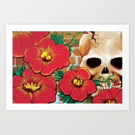 Skull with Red Flowers Art Print