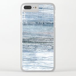 Pewter Blue abstract watercolor Clear iPhone Case