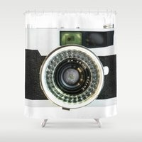 vintage camera Shower Curtains featuring Vintage camera by cafelab